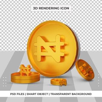 동전 나이지리아 나이라 통화 기호 골드 3d 렌더링