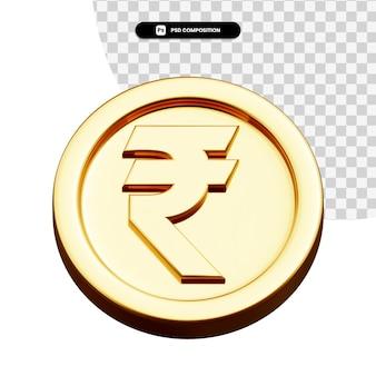 分離されたコイン ルピー 3 d レンダリング