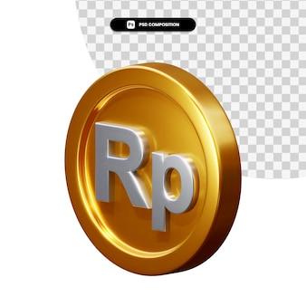 Монета рупия 3d-рендеринга изолированные