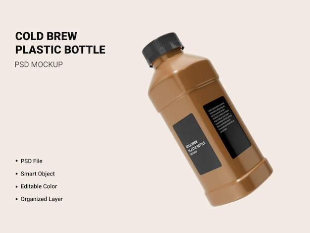 Cold brew bottle mockup isolated