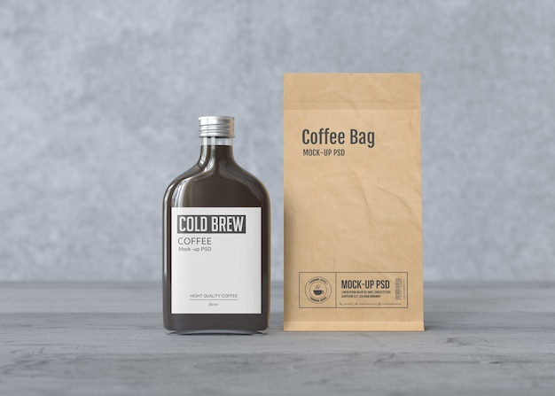 Cold brew coffee bottle with paper coffee bag mockup