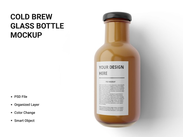 Cold brew glass bottle mockup design