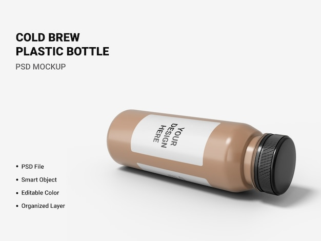 Cold brew plastic bottle mockup isolated