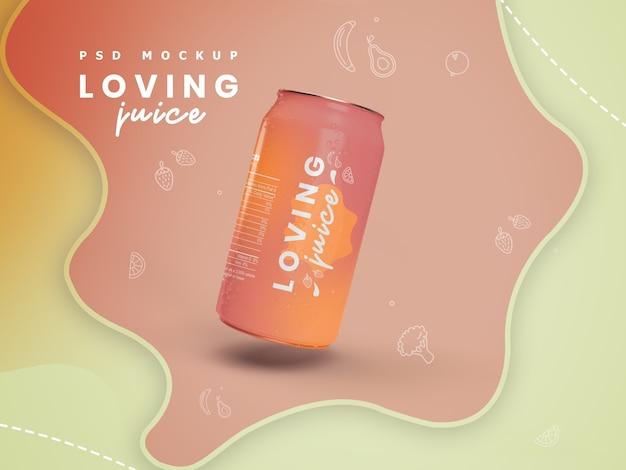 Cold can drink with orange or lemon juice mockup