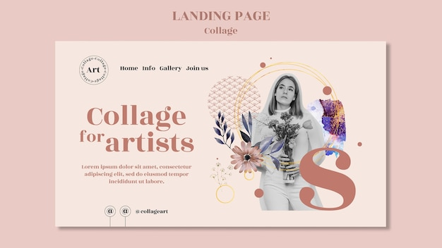 Collage for artists landing page template