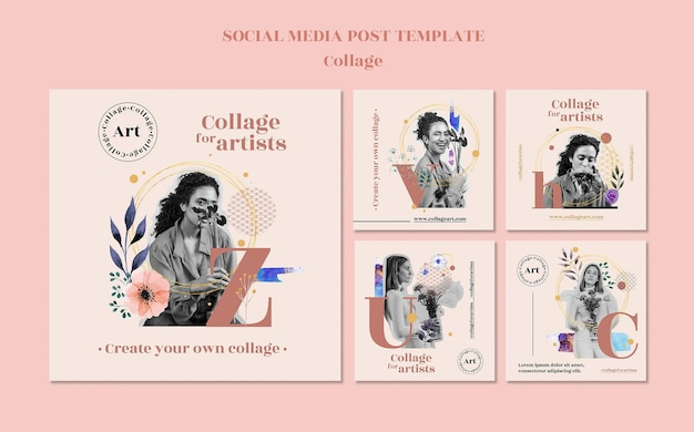 Collage per modello di post sui social media degli artisti