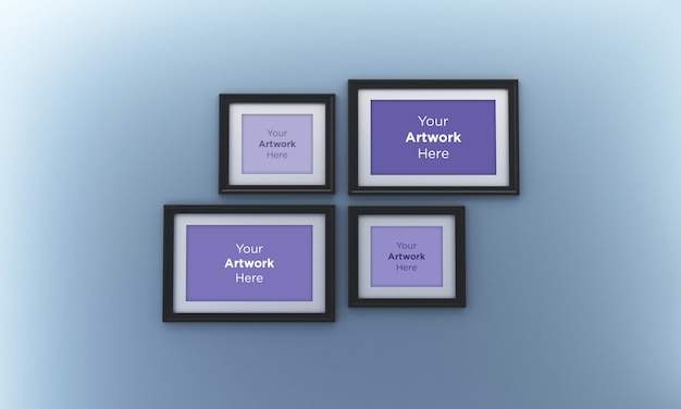 Collage of four empty photo frame mockup design