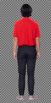 コラージュグループフルレングス20代のアジア人男性黒髪赤シャツ黒パンツと靴のフィギュアスナップ。男は立って、白い背景の後ろ側の背面図を360度回転させます。