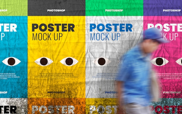 Collage poster mockup on grunge wall realistic
