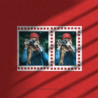 그림자와 콜라주 여행 필름 종이 프레임 모형