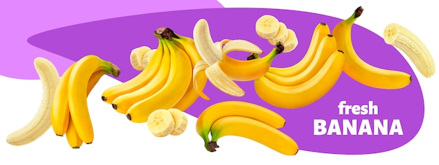 Collection of banana fruits isolated