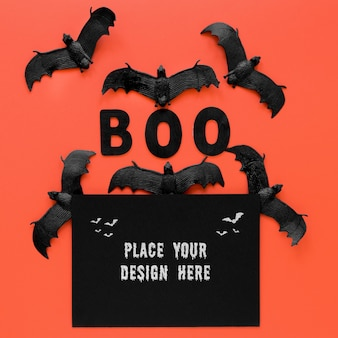 Collection of bats halloween concept top view