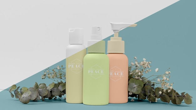 Collection of beauty products bottles mock-up
