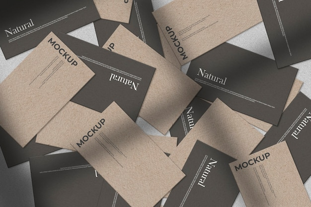 Collection of business card messy mockup