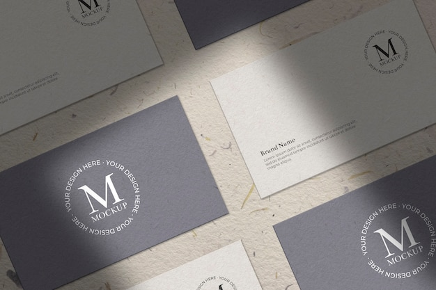 Collection of business card with shades mockup