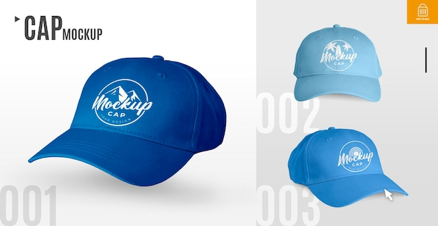 Collection of caps mockup
