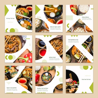 Collection of card template with food concept