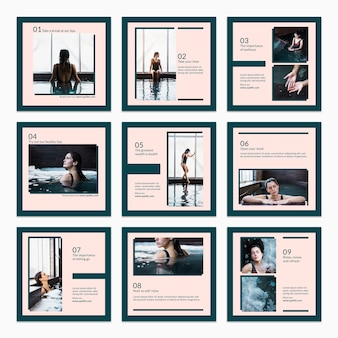 Collection of card template with spa concept
