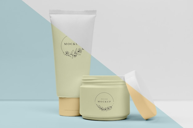 Collection of cosmetic creams containers mock-up