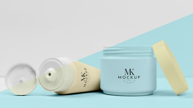 Collection of cosmetic creams mock-up