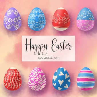 Collection of eight easter eggs