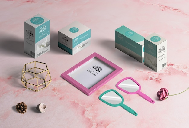 Collection of fashion products, cardboard boxes for packaging, frame, mirrors, decoration