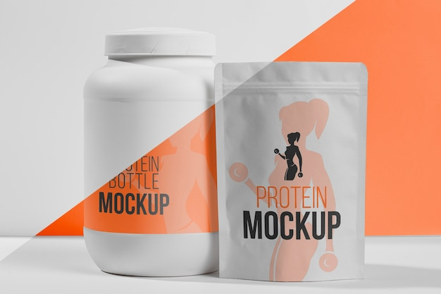 Collection of fitness protein powder bags