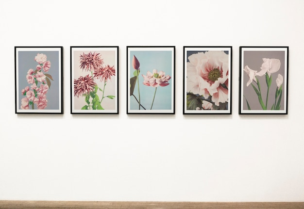 Collection of floral art pieces on a wall