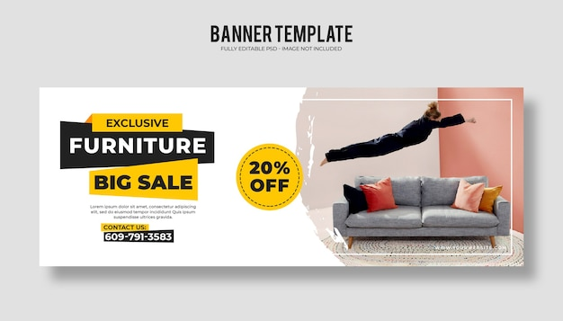 Collection of furniture sales banners with discount template