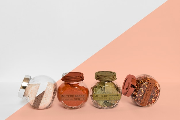 Collection of labeling jars with spices