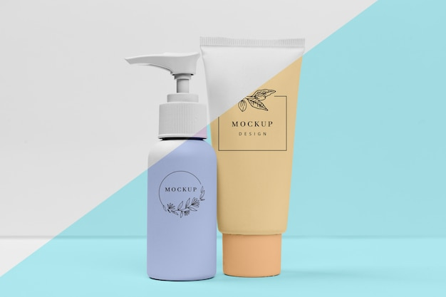 Collection of mock-up beauty products
