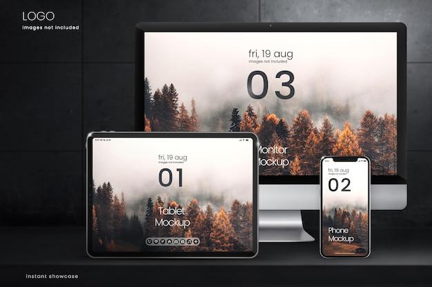Коллекция макетов экрана цифрового устройства на темном бетонном фоне