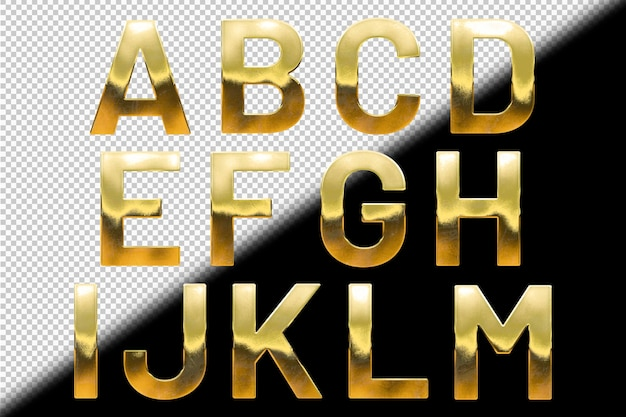 金色の文字aからmのコレクション
