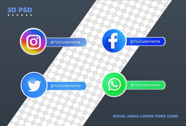 Коллекция социальных сетей нижней трети 3d-дизайна визуализирует значок значка изолированы