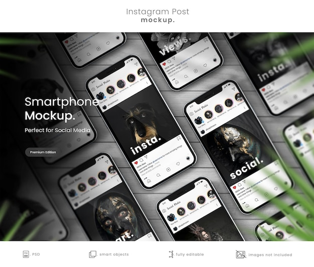 Collection of phone mockups to display istagram posts