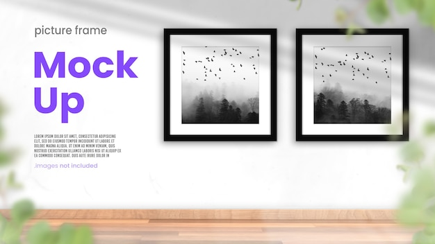 Collection of photo frames in a bright modern interior mockup