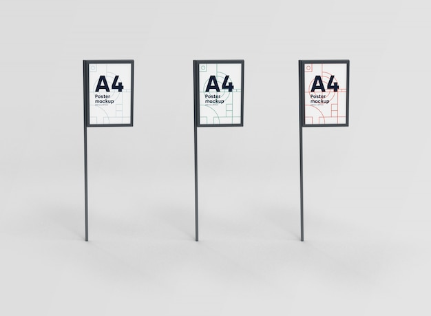 Collection poster a4 mockup psd