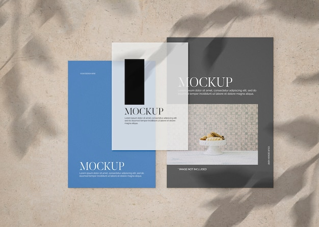 Collection of sheet papers on stone surface mockup