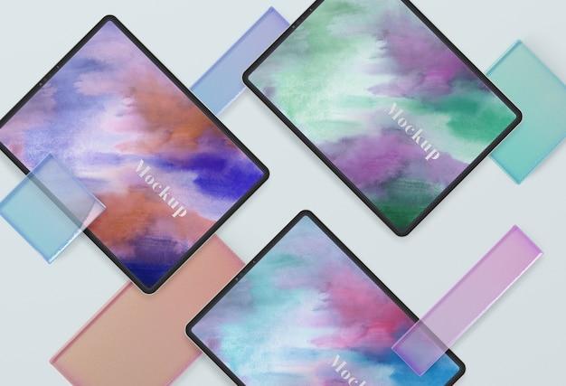 Raccolta di dispositivi tablet mock-up