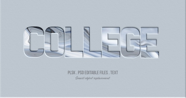 College 3d text style effect mockup