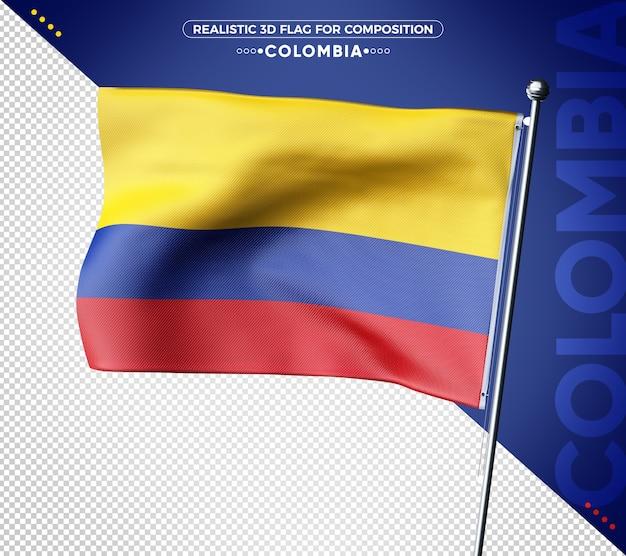 Колумбия 3d флаг с реалистичной текстурой