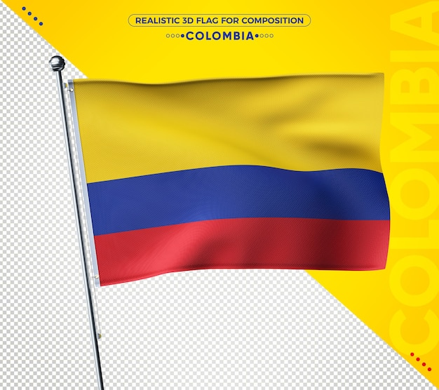 Реалистичный 3d текстурированный флаг колумбии.