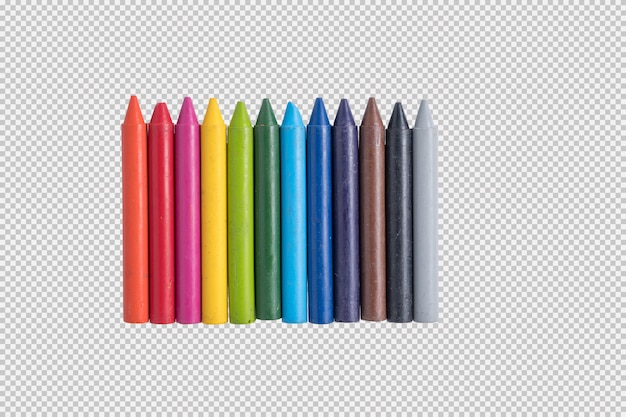 Color crayons isolated on white background