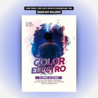 Color electro party flyer
