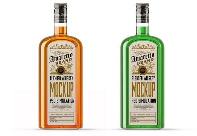 Color liquor glass bottle mockup