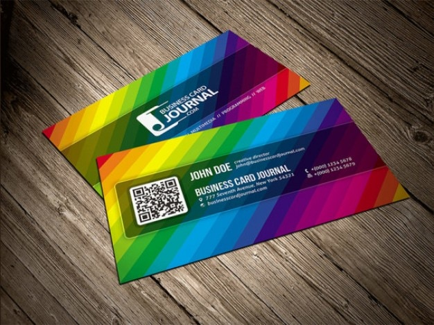 Color rainbow business card template