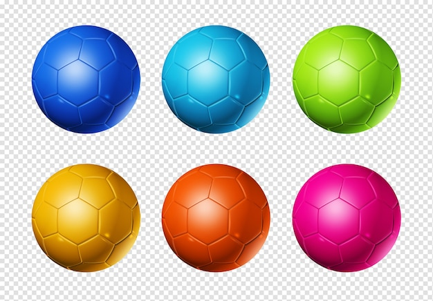 Colored 3d soccer balls isolated on white world football cup