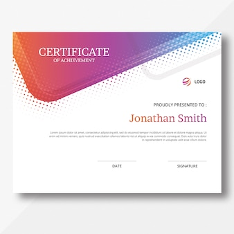 Colored certificate template
