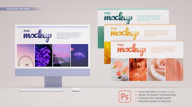 Uiuxコンセプトデザイン用のカラーコンピューター画面モックアップとフローティングスライド。 3dレンダリング