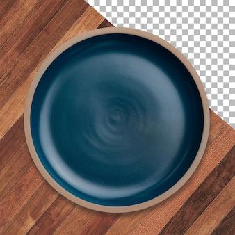 Цветная пустая керамическая тарелка, изолированные на деревянных прозрачном фоне.